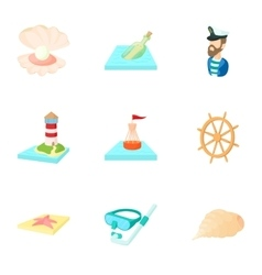 Nautical theme icons set cartoon style vector