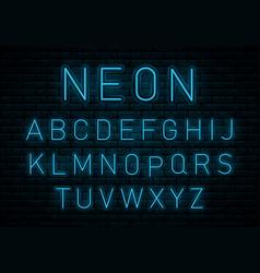 neon blue font vector image