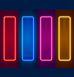 Neon frame sign in the shape of a square vector