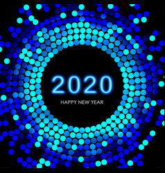 neon new year date with mosaic vector image