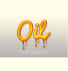 Oil 3d text style effect mockup vector