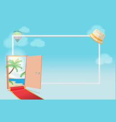 Opened door beach background vacation vector