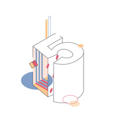 outline isometric number five 5 vector image