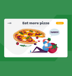 Pizzeria meal bistro italian food menu landing vector