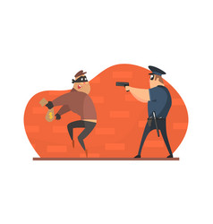 policeman with gun chasing thief in mask vector image