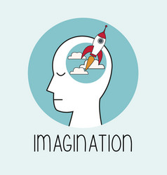 Profile human head imagination vector