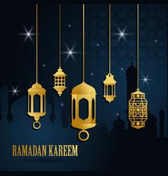 ramadan greeting card with golden islamic arabic vector image