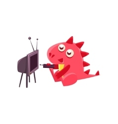 Red Dragon Watching TV vector