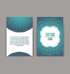 Retro card with mandala vintage background with vector