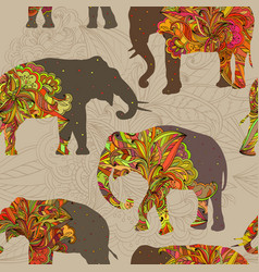 Seamless ornamental pattern with elephants vector
