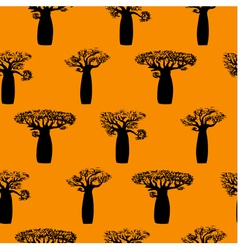 Seamless pattern made from baobabs silhuette vector