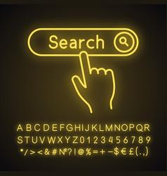 Search button click neon light icon vector