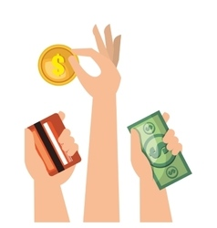 set hands money cash credit isolated vector image vector image