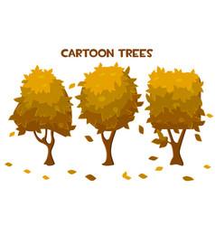 Set isolated cartoon autumn trees vector