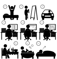 Set of flat situation icons with lazy worker vector