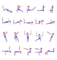 set of woman doing different exercises with vector image
