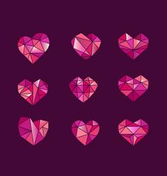 set polygonal heart symbols icons vector image