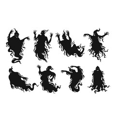 set silhouettes scary ghosts flat vector image