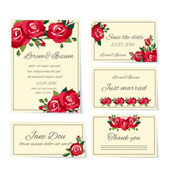 Set wedding invitation cards with roses vector