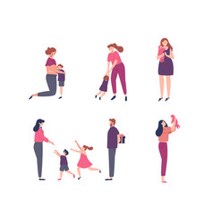 set women with children and family scenes vector image