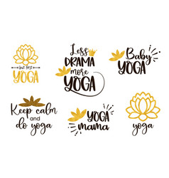 set yoga symbols and inscriptions lotus flower vector image
