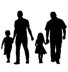 Silhouettes of fathers holding kids vector