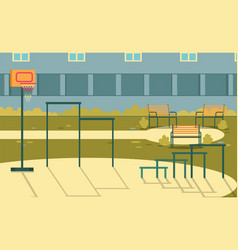 Sports ground with basketball hoop in school yard vector