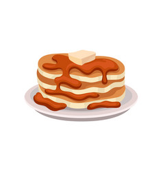 stack of fresh pancakes with chocolate syrup and vector image