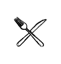Sticker white knife and fork icon vector