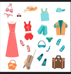 Summer wardrobe for tourists travelers vector