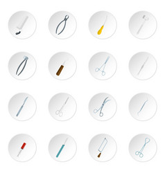 surgeons tools icons set in flat style vector image