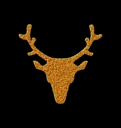 Symbol Xmas Deer head made from golden particles vector image