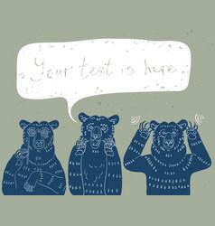 Three wise bears vector