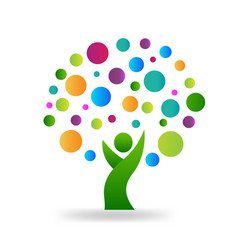 tree people with colorful circles environment vector image
