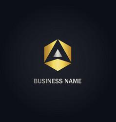 triangle polygon arrow company gold logo vector image