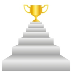 Trophy on stairs vector image