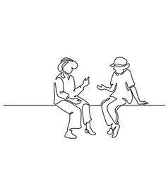 Two sitting old women talking vector