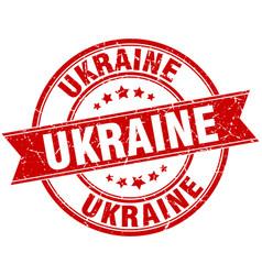 Ukraine red round grunge vintage ribbon stamp vector
