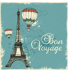 Vintage card with Eiffel Tower and air balloons vector image
