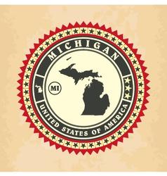 Vintage label-sticker cards of Michigan vector image