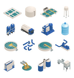 Wastewater purification isometric icons set vector