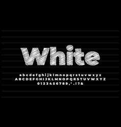 White pencil sketch text effect or font effect vector