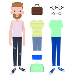 woman fashion mode constructor with various cloth vector image