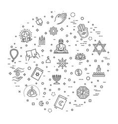World religions symbols set icons vector