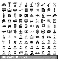 100 career icons set in simple style vector