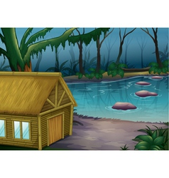 Bamboo cabin in the woods vector image
