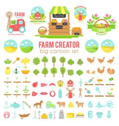 farm creator big set of farming elements vector image