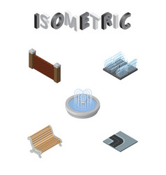 isometric city set of turning road park vector image vector image