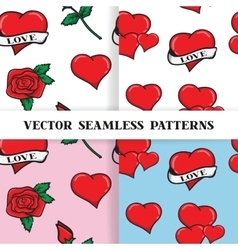 Set of seamless patterns with roses and hearts in vector image vector image