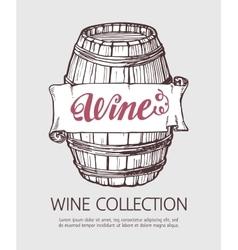 Wine or beer wood barrel vector image